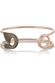 Oxidized silver and rose gold-plated safety pin cuff