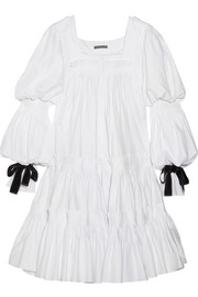 Alexander McQueen Bow-embellished pleated cotton-poplin dress