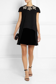 Alexander McQueen Crystal-embellished stretch-wool and velvet mini dress