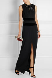 Alexander McQueen Velvet-trimmed stretch-wool and crepe gown