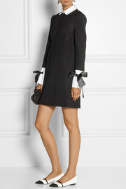 Alexander McQueen Cotton-trimmed stretch-wool mini dress