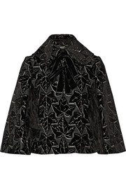 Flocked woven silk-blend jacket