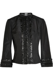 Alexander McQueen Ruffled satin-trimmed silk-faille jacket