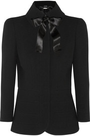 Alexander McQueen Bow-embellished wool-crepe jacket