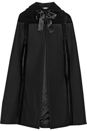 Alexander McQueen Hooded velvet-trimmed wool cape