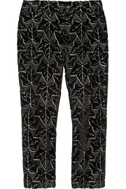 Cropped jacquard straight-leg pants