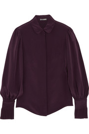 Alexander McQueen Pleat-trimmed silk blouse