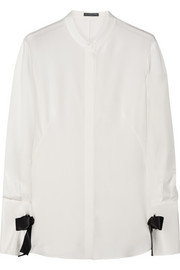 Alexander McQueen Bow-embellished silk blouse