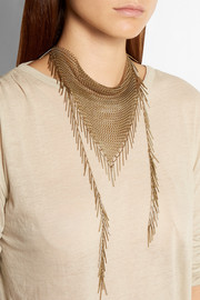 Isabel Marant Gold-tone fringed chainmail necklace