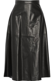Valentino Leather A-line midi skirt