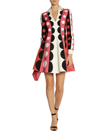Valentino Patterned wool and silk-blend mini dress