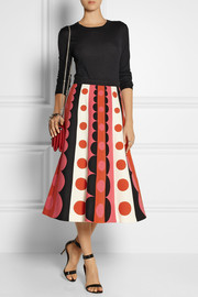 Valentino Patterned wool and silk-blend midi skirt