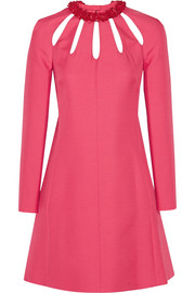 Valentino Cutout wool and silk-blend crepe mini dress