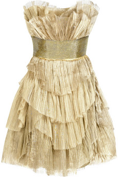 Marchesa Strapless pleated organza dress
