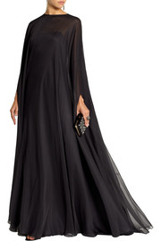 Valentino Draped silk-chiffon gown