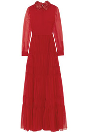 Valentino Leather-trimmed silk-chiffon gown