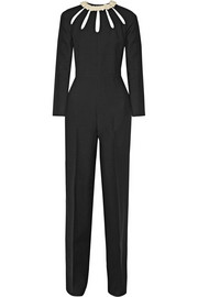 Valentino Cutout wool and silk-blend crepe jumpsuit
