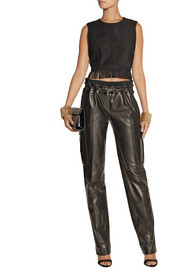 Balmain Leather straight-leg pants
