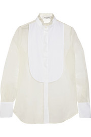 Valentino Cotton poplin-paneled silk-organza shirt