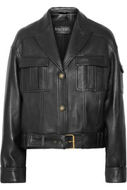 Balmain Belted leather biker jacket
