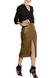 Balmain Leather pencil skirt