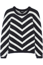 Balmain Chevron-patterned angora-blend sweater