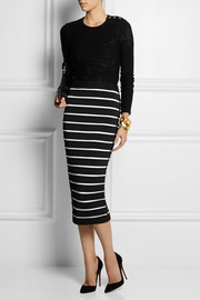 Balmain Striped bandage midi skirt