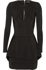 Balmain Stretch-twill peplum mini dress