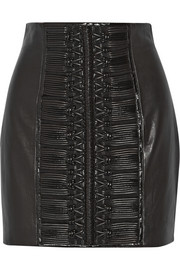 Balmain Embroidered leather mini skirt
