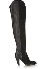 Suede and textured-leather over-the-knee boots