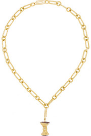 Aurélie Bidermann Fine Jewelry 18-karat gold, ruby and diamond apple core necklace