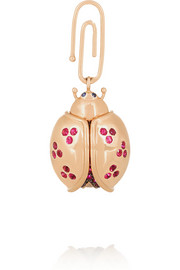 Aurélie Bidermann Fine Jewelry 18-karat rose gold multi-stone ladybug charm
