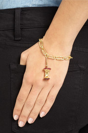 Aurélie Bidermann Fine Jewelry 18-karat gold, ruby and diamond apple core charm