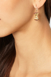 Aurélie Bidermann Fine Jewelry 18-karat gold, ruby and diamond apple core earring