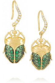 Aurélie Bidermann Fine Jewelry 18-karat gold, tsavorite and diamond beetle earrings