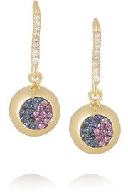 Aurélie Bidermann Fine Jewelry 18-karat gold, sapphire and diamond bell earrings