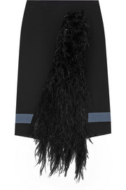 Emanuel Ungaro Feather-paneled crepe skirt