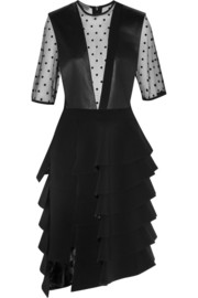 Emanuel Ungaro Leather-paneled polka-dot tulle and crepe dress