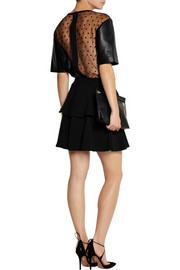 Emanuel Ungaro Leather and polka-dot tulle top