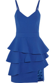 Emanuel Ungaro Ruffled crepe peplum mini dress
