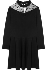 Emanuel Ungaro Tulle-paneled stretch-knit mini dress