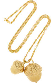 Alexander McQueen Gold-plated acorn necklace