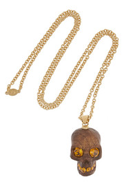 Alexander McQueen Gold-plated, Swarovski crystal and oak skull necklace