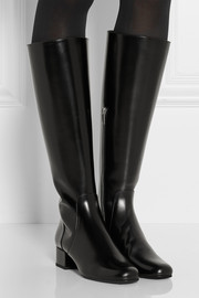 Saint Laurent Polished-leather knee boots