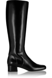 Polished-leather knee boots