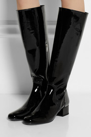 Patent-leather knee boots