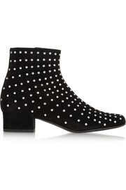 Saint Laurent Crystal-embellished suede ankle boots