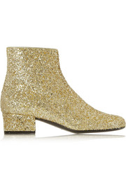 Glitter-finished leather ankle boots