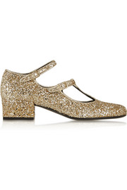 Saint Laurent Glitter-finished leather pumps