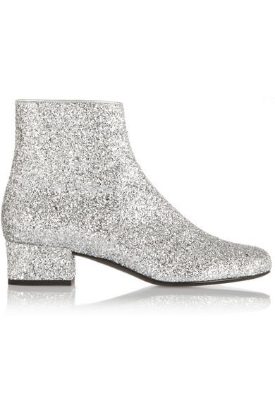 a3515198c40 SAINT LAURENT | Glitter-finished ankle boots | NET-A-PORTER.COM